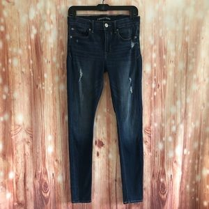 Express Blue Mid Rise Distressed Skinny Jeans